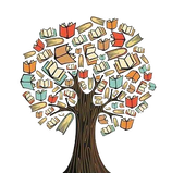 Illustration of a tree filled with books
