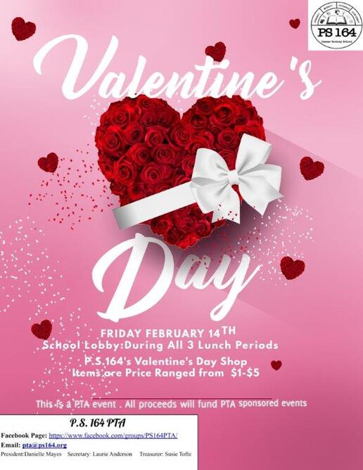Flier for P.S. 164's Valentine's Day Shop on February 14th