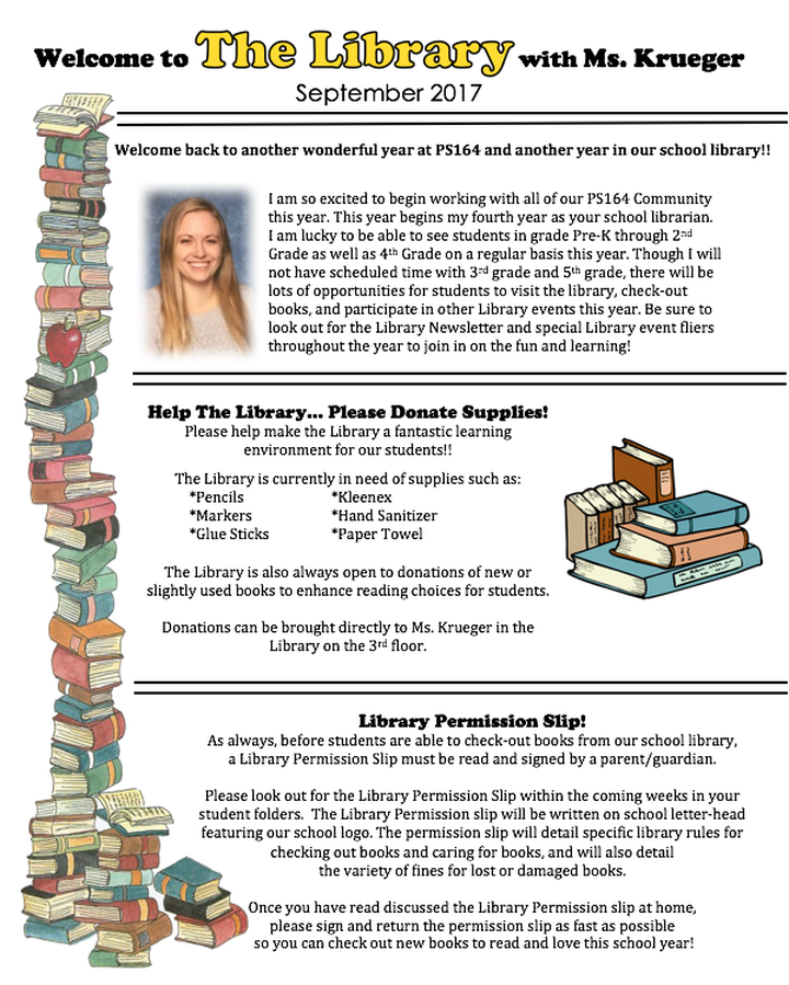 Full Image of September Library Newsletter, Download button immediately below image.