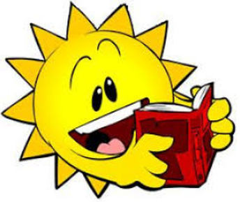 Illustration of a sun rading a book